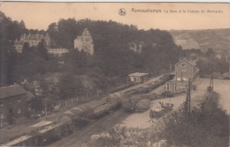 Remouchamps      La Gare Et Le Chateau De Montjardin   Goederentrein Trein Wagon  Station   Aywaille   Nr 6307 - Aywaille