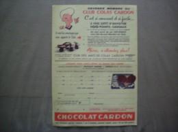 CHOCOLAT CARDON CLUB DES AMIS DE COLAS CARDON CAMBRAI LISTE DES CADEAUX - Publicités