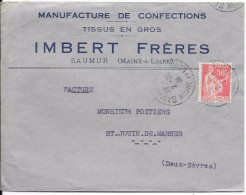 LF 754 Lettre à Entête Manufacture De Confection Timbre N°199 - Marcophilie (Lettres)