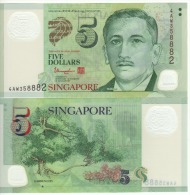 SINGAPORE  $5  Polimer  P47d  One Triangle Below Garden City On Back  UNC - Singapour