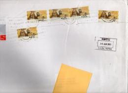 Espagne - 5 Timbres De Distributeur  N°39 Centenaire De La Fondation Hermandad De Nuestra. Enveloppe Format 358 X 260 - 2001-10 Storia Postale
