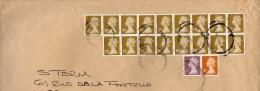 GB - 17 Timbres Reine Elisabeth II  50p Bistre Jaune + 5p + 10p - 2 Bandes De Phospho - Obl Du 4 Mai 2006 - Sur Envel 38 - Briefe U. Dokumente