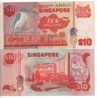 "SINGAPORE  $10    P11b  ""Bird's Serie""     ( ND 1980 ) UNC - Singapore"