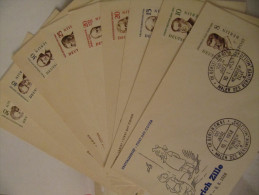 1957-59, FDC Berühmte Männer (ohne 7 Pfg.), Michel 164-172 FDC, Value 88,50 - FDC: Buste