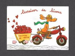 HUMOUR - LIVRAISON DE BISOUS  -  DELIVERY OF KISSES - TOUTOU DE SUITE - MOTO - PAR HÉLÈNE CROCHEMORE - CARTES D'ART - Humour