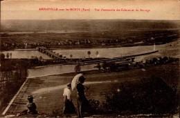 27-AMFREVILLE SOUS LES MONTS..VUE D'ENSEMBLE DES ECLUSES.....CPA ANIMEE - France