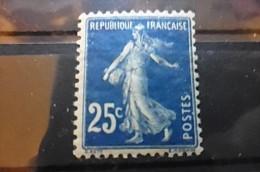 Timbre 25c Bleu Neuf FRANCE 1907 Semeuse Fond Plein Yt 140A - 1906-38 Semeuse Camée