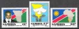 Namibia Südwestafrika SWA 1990 Geschichte Unabhängigkeit Persönlichkeiten Politiker Flaggen Fahnen Tauben, Mi. 668-0 ** - Namibia (1990- ...)