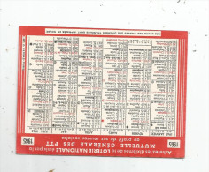 G-I-E , Calendrier , 1965 , Loterie Nationale émis Par La Mutuelle Générale Des PTT , 2 Scans - Calendars