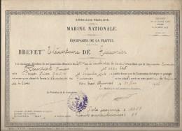 Brevet Elémentaire De Timonier/ Marine Nationale/Equipages De La Flotte/BREST/1924  DIP83 - Diplômes & Bulletins Scolaires
