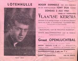 Programma Vlaamse Kermis Lotenhulle - Roger Danneels - Tony Dua - 1961 - Programmes
