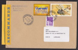 France: Registered Cover, 2000, 3 Stamps, High Value, Breguet Airplane, Rainbow, Label, Paris-Haussmann (traces Of Use) - Cartas