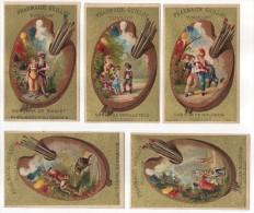 5 Belles Chromo Fonds Or - Palettes - Pharmacie Guillot à Toulon - Trade Cards