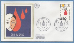 France FDC Silk Soie Don Du Sang Metz 1988 N° 2528 - FDC