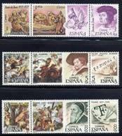 ESPAÑA 1978 - CENTENARIOS EN TRIPTICOS - Edifil  2460-68 - Yvert Nº 2105-2113 - Rubens
