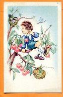 LOL075, Fantaisie, Illustrateur, Enfant Assis Dans Un Cerisier, Oiseaux, Cuillette Des Cerises, Circulée Sous Enveloppe - Gougeon