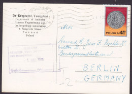 Poland DR. KRYSZTOF TUSZYNSKI Department Of Anatomy POZNAN 1978 Card Karte BERLIN Germany Old Coin Münze Stamp (2 Scans) - Briefe U. Dokumente