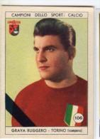 FOOT CARD ITALIE ULTRA RARE LAVAZZA CALCIO 1950 - N° 106 ROGER GRAVA - TORINO / BORDEAUX - Panini
