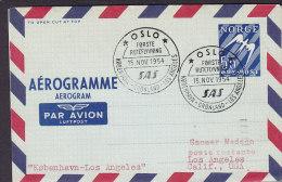 Norway Air Mail Par Avion Luftpost Aerogramme Oslo-Copenhagen-Greenland-Los Angeles 1. Flight Cover 1954 !! (2 Scans) - Briefe U. Dokumente