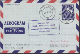 Norway Air Mail Par Avion Luftpost Aerogramme SAS BODØ-FAIRBANKS-TOKIO 1. Flight Cover 1954 !! (2 Scans) - Briefe U. Dokumente