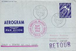 Norway Air Mail Par Avion Luftpost Aerogramme SAS OSLO-THULE-TOKIO Special Flight Cover 1953 RETOUR !! (2 Scans) - Briefe U. Dokumente