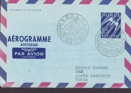 Norway Air Mail Par Avion Luftpost Aerogramme OSLO-KØBENHAVN-TOKIO Via Nordpolen 1. Flight Cover 1957 !! (2 Scans) - Briefe U. Dokumente