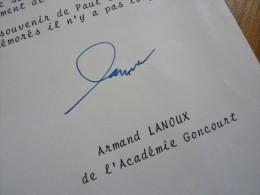 Armand LANOUX (1913-1983) - Ecrivain Académie GONCOURT - AUTOGRAPHE. - Autographes