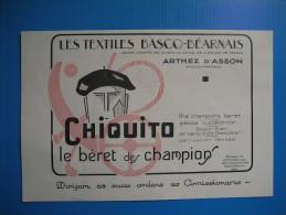 (1931) CHIQUITO Le Béret Des Champions à Arthez D'Asson - Bérets Basques à Lescar (Basses-Pyrénées) - Vieux Papiers