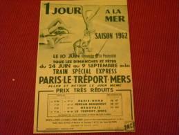 Horaires 1962 Pour Le Train Paris - Le Tréport -Mers Sigle SNCF - Europe