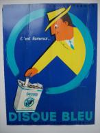 """- Ancienne Affiche Publicitaire.Tabac. Cigarettes """" GAULOISES DISQUE BLEU """" - - Tabac (objets Liés)"""