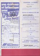 40 ---SEIGNOSSE LE PENON---Cinéma Select Programme Fesrival De Cinema De L´Eté 1° Au 31 Juillet 1982 - Cinema Advertisement