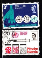 Pitcairn Islands Used Scott #95-#96 Set Of 2 20th Anniversary WHO - Timbres