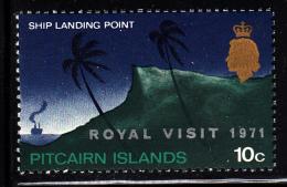 Pitcairn Islands MNH Scott #118 'Royal Visit 1971' Overprint On 10c Ship Landing Point - Timbres
