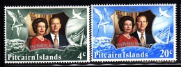 Pitcairn Islands MNH Scott #127-#128 Queen Elizabeth II, Prince Philip - Silver Wedding Anniversary - Pitcairn
