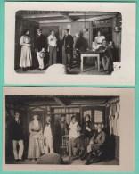 CAMP DE PRISONNIERS ELLWANGEN - PIECE DE THEATRE DES OFFICIERS - 2 CARTES PHOTOS 1917 - 2 SCANS - Guerre 1914-18
