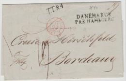 DKV007 /  DÄNEMARK  - Copenhaven 1840 Mit Transitstempel Par Hambourg Nach Bordeaux - Danimarca