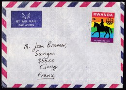 Rwanda: Airmail Cover To France, 1 Stamp, Olympics, Horse, Sports, Rare Real Use (traces Of Use) - Rwanda