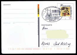 36949) BRD - Ganzsache PSo 77 I - SoST 93047 REGENSBURG 1 Vom 28.11.2002 - Christkindlmarkt, Kirche - Marcofilia - EMA ( Maquina De Huellas A Franquear)