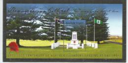 ÎLE NORFOLK. Centenaire De La Bataille De Gallipoli (bataille Des Dardanelles) ANZAC.1915-1916. Un Bloc-feuillet Neuf ** - Guerre Mondiale (Première)