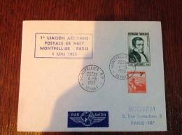 Lettre Flamme 1ère Liaison Aerienne Postale De Nuit Montpellier-Paris Le 4 Mai 1953 - Storia Postale