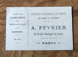 RARE Image Clinique De Poupées, Image Publicitaire, Bébés Et Poupées, Accessoires, Vêtements, Passage Du Caire, Paris. - Trade Cards