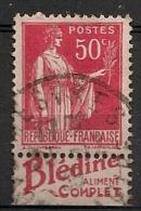Timbre à Bande Publicitaire Type Paix IV 50c Rouge N° 283. Pub - Advertising
