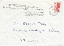 FLAMME DE PARIS 01 - TENNIS ROLAND GARROS 1983 - Marcophilie (Lettres)