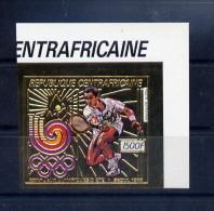 Centrafrique Timbre Or Gold Tennis Non Dentelé/imperf/B JO 88 ** - Ete 1988: Séoul