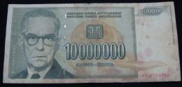 YUGOSLAVIA 10,000,000 DINARA 1993, IVO ANDRIC NOBEL PRIZE WINNER. - Yougoslavie
