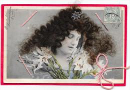 Cpa Femme Brune à Cheveux Véritables - A Systèmes