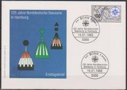 Bund FDC 1993 Nr.1647  125 Jahre Norddeutsche Seewarte Hamburg ( D 3470 ) - FDC: Covers