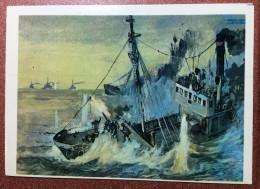 "Soviet Navy Postcards. USSR Russian Navy In World War II. Feat The Russian Patrol Ship ""Passat"". Nazi Destroyers. - Warships"