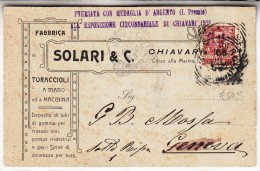 "PUBBLICITA´ADVERTISING-""SOLARI & C.´´TURACCIOLI A MANO E A MACCHINA-CHIAVARI-GE-1906- 2 SCAN VEDI - Advertising"