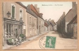 """MELLERAY (Sarthe). -- Rue Principale - Voyagée 1910 -- LEFOURNEUR """"Chapellier"""" - CHAPEAU - Montmirail"""